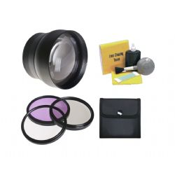 2.2x Super Telephoto Lens + High Definition 3 Piece Filter Kit + Cleaning Kit (Powershot S3 IS, Includes Lens Adapter)