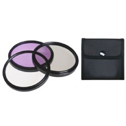 Canon Powershot S3 IS High Grade Multi-Coated, Multi-Threaded, 3 Piece Lens Filter Kit (58mm) Made By Optics + Lens Adapter